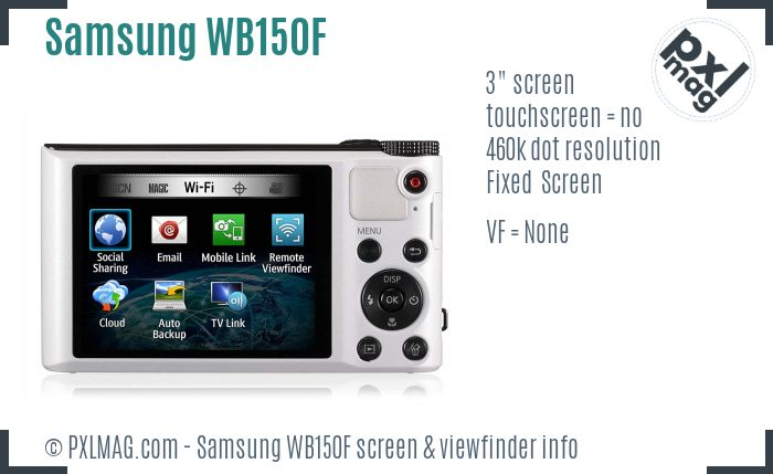 Samsung WB150F screen and viewfinder