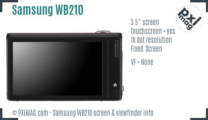 Samsung WB210 screen and viewfinder