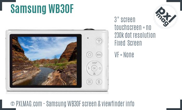 Samsung WB30F screen and viewfinder