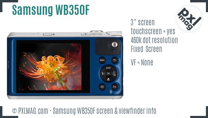 Samsung WB350F screen and viewfinder
