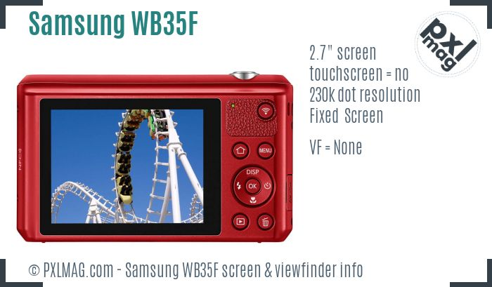 Samsung WB35F screen and viewfinder