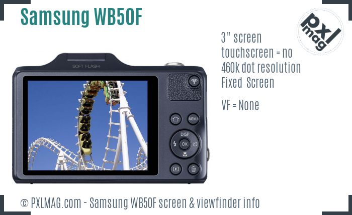 Samsung WB50F screen and viewfinder