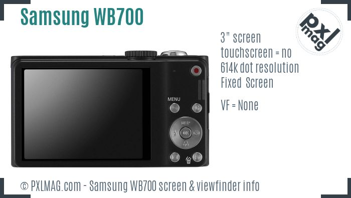 Samsung WB700 screen and viewfinder