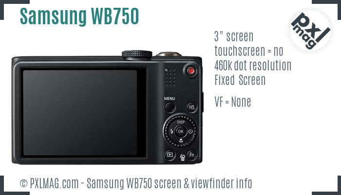 Samsung WB750 screen and viewfinder
