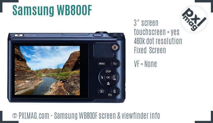 Samsung WB800F screen and viewfinder
