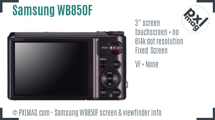 Samsung WB850F screen and viewfinder