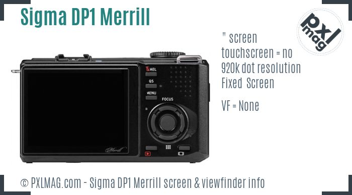 Sigma DP1 Merrill screen and viewfinder
