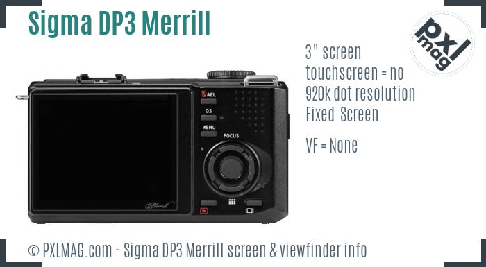 Sigma DP3 Merrill screen and viewfinder