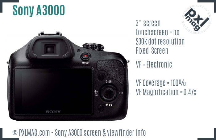 Sony Alpha A3000 screen and viewfinder