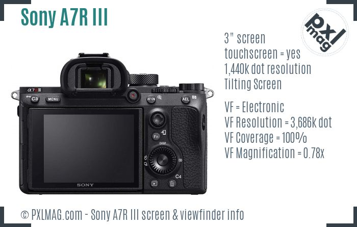 Sony Alpha A7R III screen and viewfinder