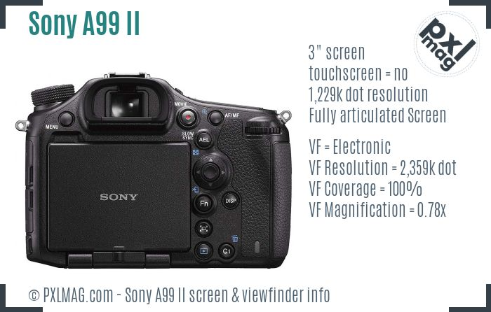 Sony Alpha A99 II screen and viewfinder