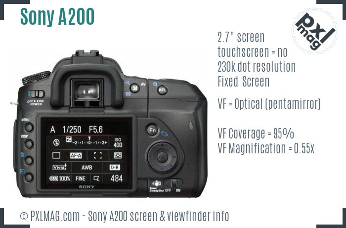Sony Alpha DSLR-A200 screen and viewfinder
