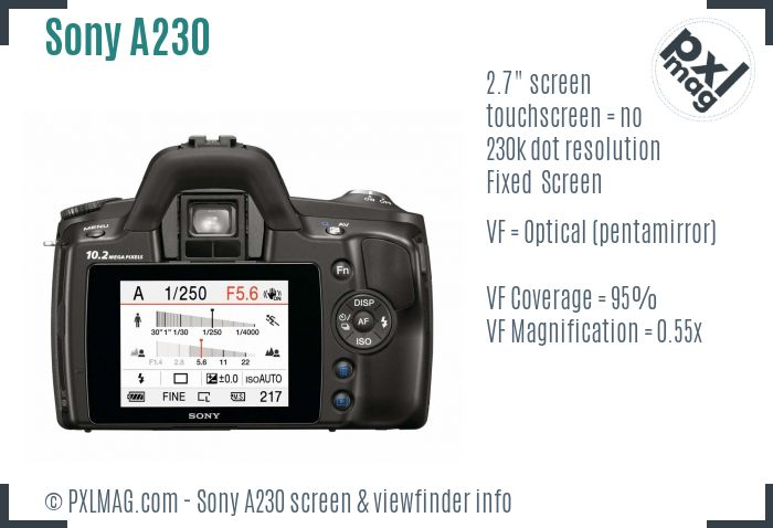 Sony Alpha DSLR-A230 screen and viewfinder
