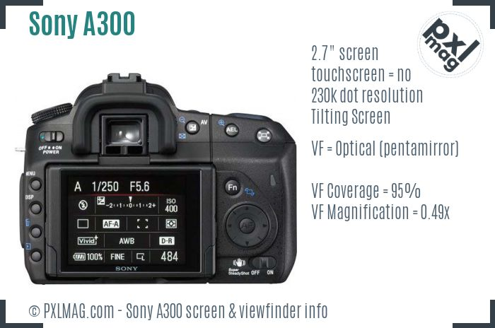 Sony Alpha DSLR-A300 screen and viewfinder
