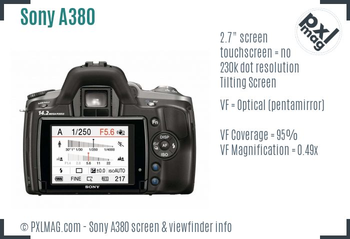 Sony Alpha DSLR-A380 screen and viewfinder