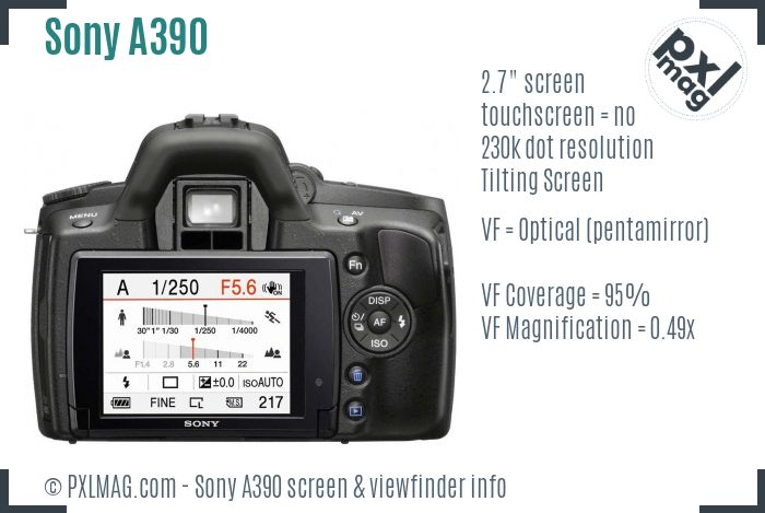 Sony Alpha DSLR-A390 screen and viewfinder