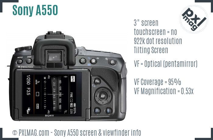 Sony Alpha DSLR-A550 screen and viewfinder