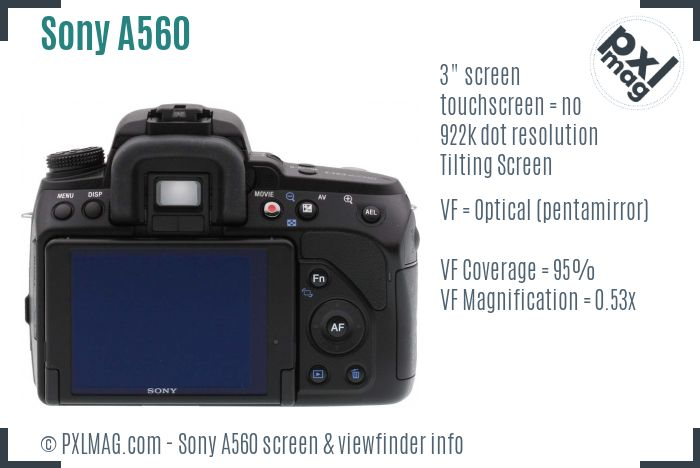 Sony Alpha DSLR-A560 screen and viewfinder