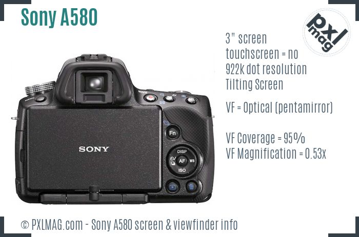 Sony Alpha DSLR-A580 screen and viewfinder