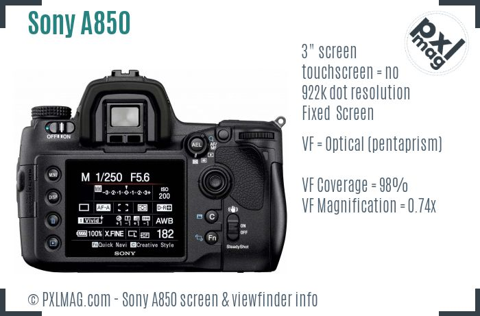 Sony Alpha DSLR-A850 screen and viewfinder