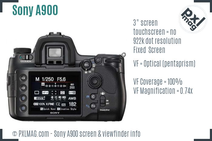 Sony Alpha DSLR-A900 screen and viewfinder