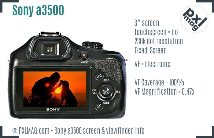 Sony Alpha a3500 screen and viewfinder