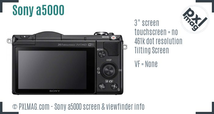 Sony Alpha a5000 screen and viewfinder