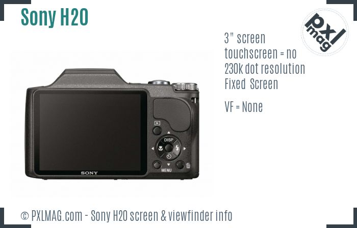 Sony Cyber-shot DSC-H20 screen and viewfinder