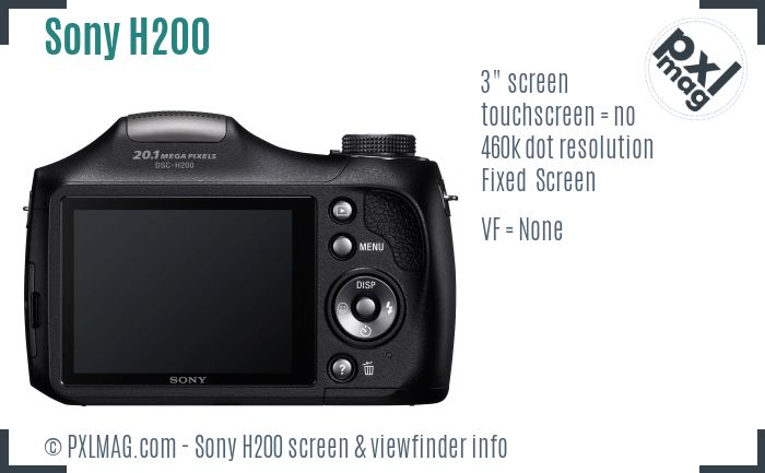 Sony Cyber-shot DSC-H200 screen and viewfinder