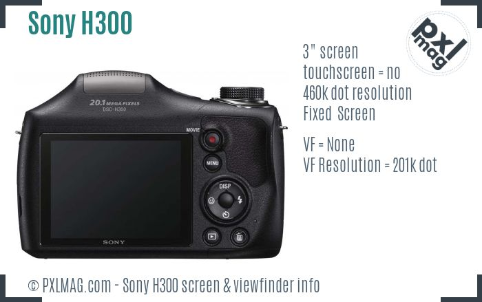 Sony Cyber-shot DSC-H300 screen and viewfinder