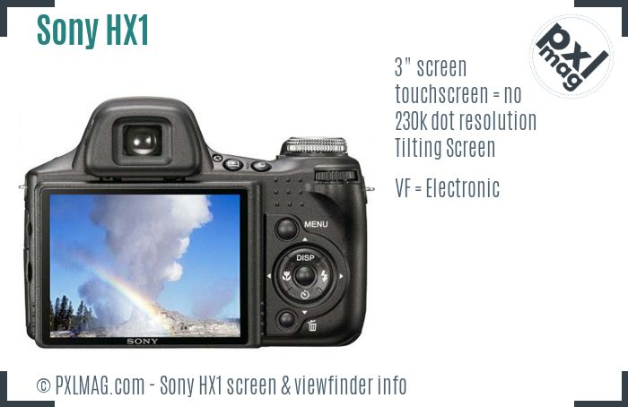 Sony Cyber-shot DSC-HX1 screen and viewfinder