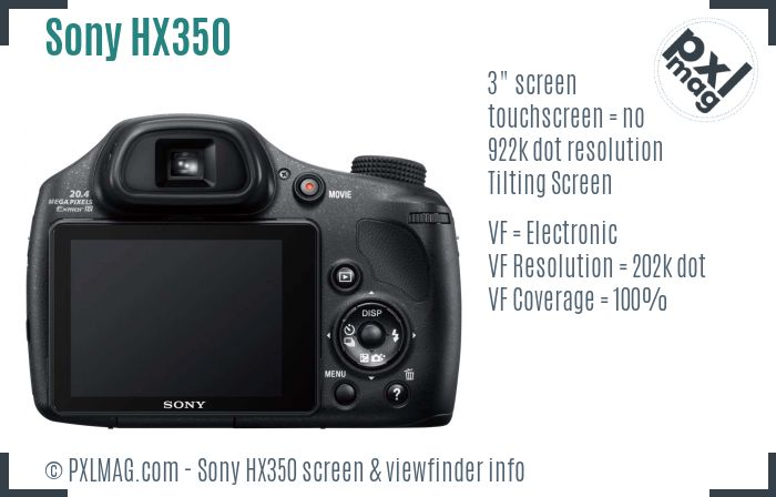 Sony Cyber-shot DSC-HX350 screen and viewfinder