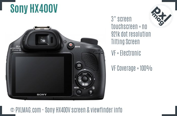 Sony Cyber-shot DSC-HX400V screen and viewfinder