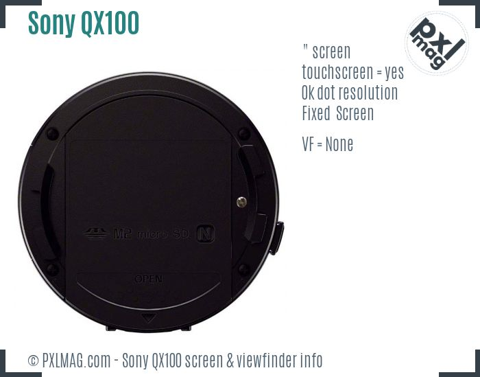 Sony Cyber-shot DSC-QX100 screen and viewfinder