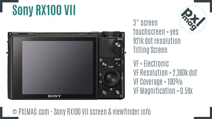 Sony Cyber-shot DSC-RX100 VII screen and viewfinder