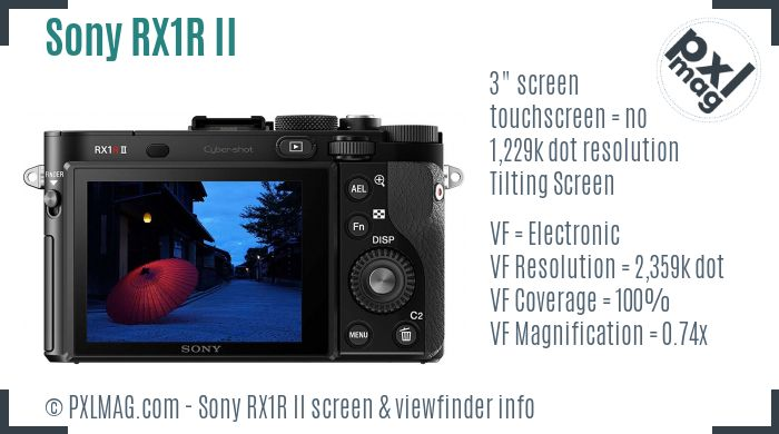 Sony Cyber-shot DSC-RX1R II screen and viewfinder
