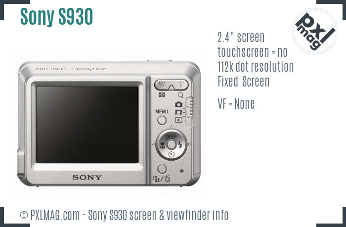 Sony Cyber-shot DSC-S930 screen and viewfinder