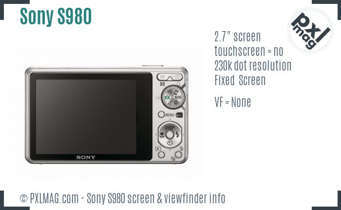 Sony Cyber-shot DSC-S980 screen and viewfinder