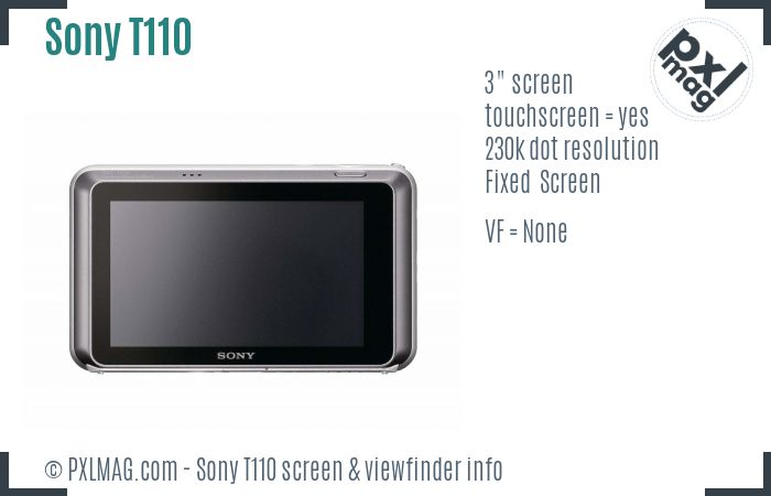 Sony Cyber-shot DSC-T110 screen and viewfinder