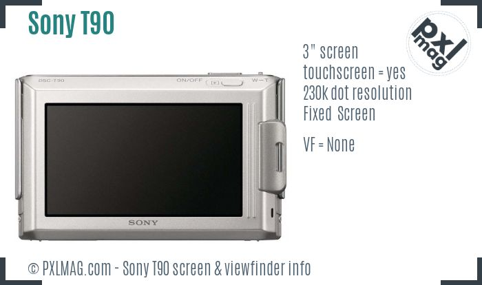 Sony Cyber-shot DSC-T90 screen and viewfinder