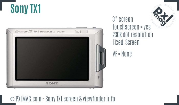 Sony Cyber-shot DSC-TX1 screen and viewfinder