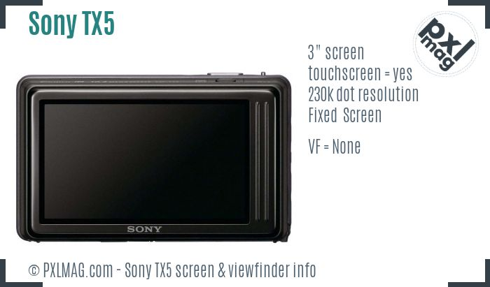 Sony Cyber-shot DSC-TX5 screen and viewfinder