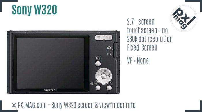 Sony Cyber-shot DSC-W320 screen and viewfinder
