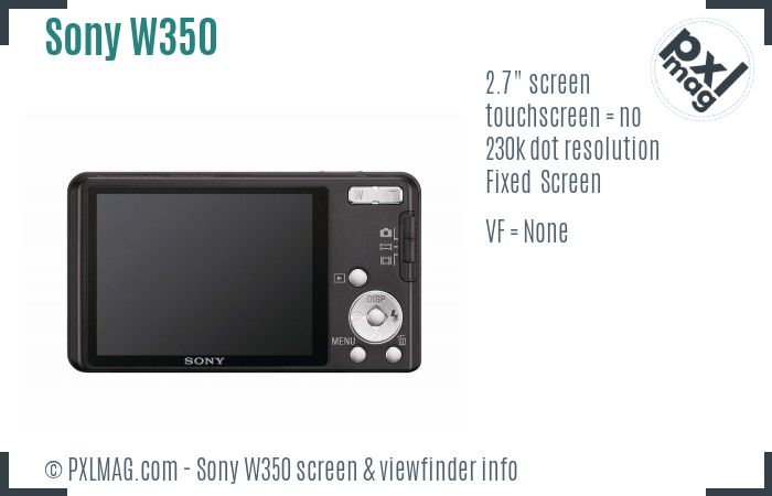Sony Cyber-shot DSC-W350 screen and viewfinder