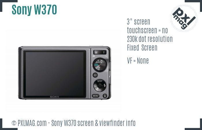 Sony Cyber-shot DSC-W370 screen and viewfinder