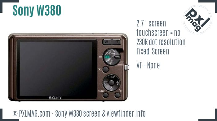 Sony Cyber-shot DSC-W380 screen and viewfinder