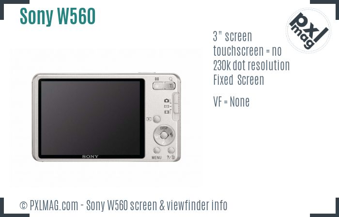 Sony Cyber-shot DSC-W560 screen and viewfinder