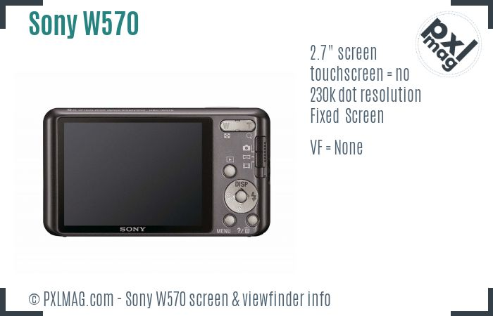 Sony Cyber-shot DSC-W570 screen and viewfinder