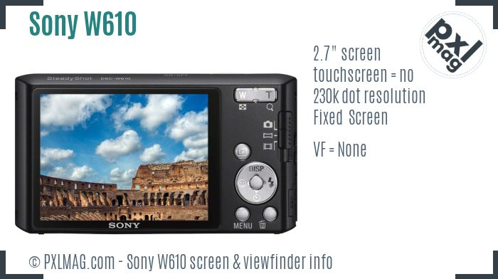 Sony Cyber-shot DSC-W610 screen and viewfinder
