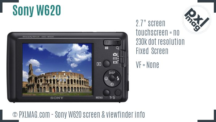 Sony Cyber-shot DSC-W620 screen and viewfinder